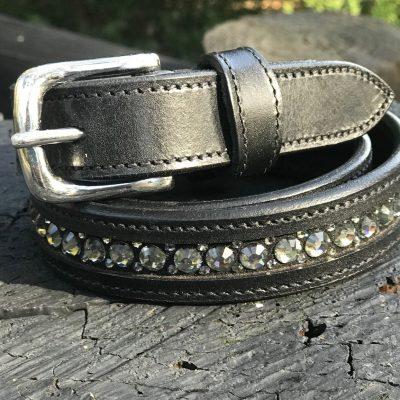 Black leather &Crystal belt