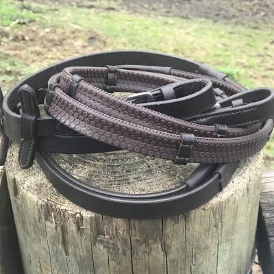 Dark Brown super grip reins with leather notches for extra grip