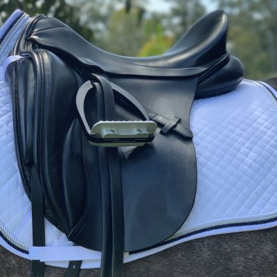 Valleyhorsewear Dressage Saddle Pad-White with Navy/Silver Rope finish