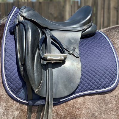 Valleyhorsewear Dressage Saddle Pad-Navy-Navy/Silver rope binding